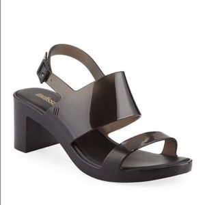 Melissa Black Classy High PVC Block Heel Sandals